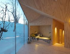 Reiulf Ramstad Arkitekter's V-Shaped Cabin Bare wood lines the interior and exterior of this Norwegian hideaway Contemporary Architecture, Interior Architecture, Interior And Exterior, Room Interior, Plywood Interior, Sleeping Nook, Casas Containers, Cabins In The Woods, Lodges