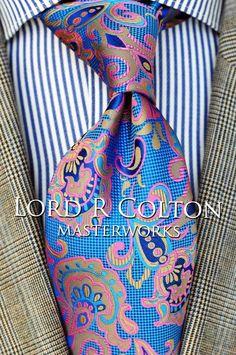 $75 New Lord R Colton Masterworks Pocket Square Charleston Gold Blue Silk