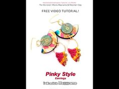 PolyPediaOnline FREE Tutorial - Pinky Style earrings - Micro Macrame & polymer clay beads - YouTube