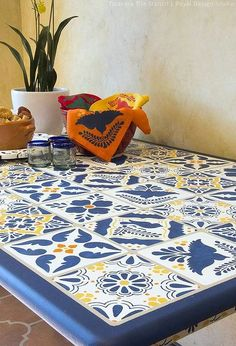 how to stencil a mexican talavera tile table, how to, painted furniture, tile flooring