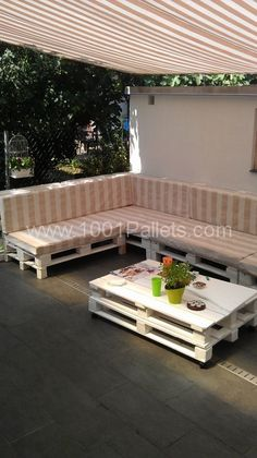 To decorate a terrace with comfy sofa from already used pallets.To enjoy with friends in long hot nights! :) Idea sent by Petra Čabraja !