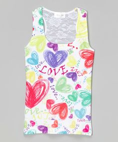 This Red & Blue Love Hearts Lace-Back Tank - Girls by Gi Gi Girl is perfect! #zulilyfinds