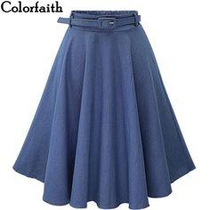 b80051ebd53 Denim Skirt 2016 Summer Women Saia Middle Waist Slit Skirts Casual Denim  Pleated Saia With Button Sashes 2 Colors
