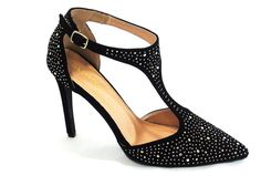 Liliana Selina 8 Women's Black Faux Suede Studded Ankle Strap Pump Size 11m #Liliana #Stilettos