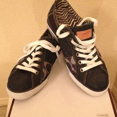 COACH DENIM SNEAKERS These super cute patchwork denim sneaker has a snakeskin patch and signature patches on the shoe. Rubber sole. Small wear on right back shoe. They're in pristine condition.  Coach Shoes Sneakers