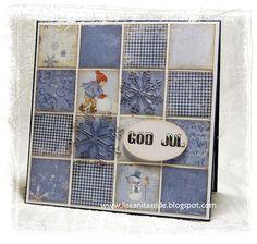 Blue Patchwork Christmas Card