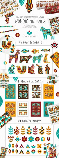 I hasten to introduce you to a magical set in the Scandinavian style - Nordic Animals - Folk set! With this bright folk set, you can create prints, posters, Scandinavian Pattern, Scandinavian Folk Art, Nordic Art, Scandi Art, Hindu Art, Native Art, Tribal Art, Pattern Art, Graphic