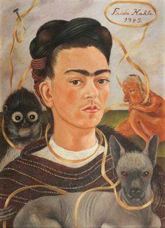 Self-portrait with Small Monkey, 1945, maker Frida Kahlo. Als je naar het schilderij kijkt zie je rechts boven de naam van de maker en het jaartal waarin het gemaakt werd. Frida heeft een aap om haar nek, een kat voor Frida en een wezen links van Frida. Om hun is een lint die ze samen verbind.