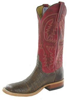 5ccdf2c51ab7 CowboyWarehouse  Anderson Bean Cowboy Boots Chocolate Caiman Belly   Red  Bison Tops S1095