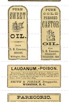 Digital Download Collage Sheet Antique 1800's Vintage Druggists Apothecary Pharmacy Labels 11 Laudanum Oil (115)