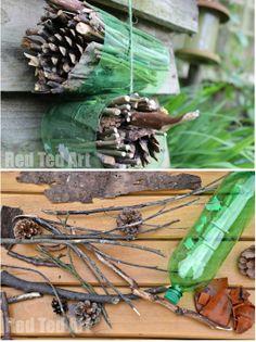 des branchages + 1 bouteille plastique = un Hôtel à insectes à fabriquer avec les enfants / Bug hôtel