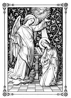 The Annunciation & The Incarnation Catholic Catechism, Catholic Art, Religious Art, Christian Images, Christian Art, Images Of Christ, Vintage Holy Cards, Biblical Art, Black White Art
