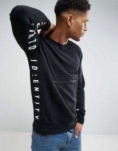 Jack & Jones Core Sweatshirt with Zip Pocket and Seam Prints - Black