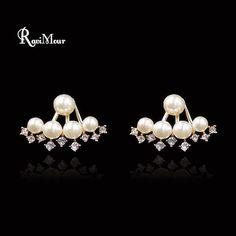 Double Sided Created Pearl Stud Earrings for Women CZ Diamond Boucle d'oreille Femme Bijoux Front Back Ear Jacket Jewelry 2017