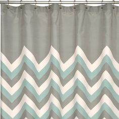 Add pattern and color to you modern bathroom with the brightly chevron shower curtain in a soft aqua, grey and white finish. This 100-percent polyester shower curtain is machine washable for easy care and repeated use.