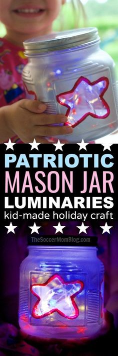Add a gorgeous glow to your Independence Day celebrations with these fun and easy patriotic kid-made mason jar lights!