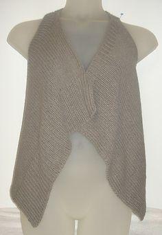 THEORY Gray knit PETITE SMALL sleeveless shawl sweater vest mally cobblestone