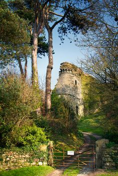 NEWPORT CASTLE RUINS, PEMBROKESHIRE, Wales. A private home has been built around the ruins. A guided walk takes visitors around the grounds in August
