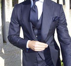 Light Blue Suit, Blue Suit Men, Sharp Dressed Man, Well Dressed Men, Blue Striped Suit, Suit Fashion, Mens Fashion, Mens Kurta Designs, Man Dressing Style