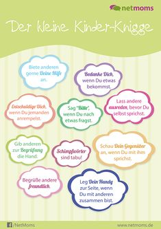 The small NetMoms children's etiquette for relaxed coexistence - Regeln Etiquette, Kids And Parenting, Prayers, Journal, Children, Tricks, Play, Faces, Daily Routine Kids