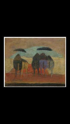 "Zoran Music - "" Motivo Dalmata "", 1952 - Öl auf Leinwand - 33 x 40,6 cm"