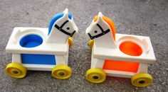 Pair 1970's Fisher Price Little People Horses.