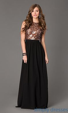 Sequin Sleeveless Open Back Floor Length Gown at SimplyDresses.com