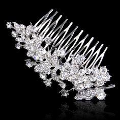 Vintage Style Wedding Tiara Hair Comb, Wedding Hair Accesory, Swarovski Crystal Bridal Hair Piece, Bridesmaid Jewelry-160069342 on Etsy, $17.99