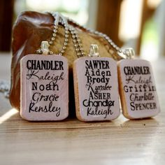 Custom grandchildren name necklace.  Gave these as mother's day gift.  My mother-in-laws and Mom LOVED them and get asked about them every time they wear them. products-i-love
