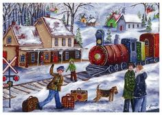 Christine Genest - Départ à 3 heures Christmas Signs, Christmas Cards, Country Art, Naive Art, Winter Scenes, The Good Old Days, Back In The Day, Belle Photo, Illustrations