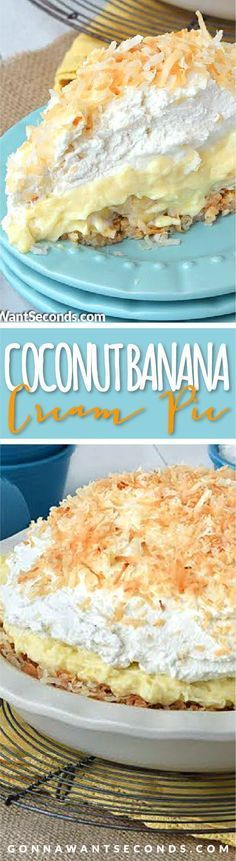 This Coconut Banana Cream Pie just may be the most delicious thing you've ever eaten! Seriously friends! Delicious old fashioned homemade Coconut Custard, a layer of fresh bananas, a generous topping of fresh whipped cream all cradled in a coconut macaron style crust!!