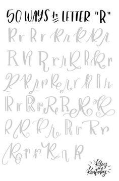 Letter R Hand Lettering 101, Brush Lettering Worksheet, Hand Lettering Practice, Hand Lettering Alphabet, Doodle Lettering, Creative Lettering, Lettering Styles, Calligraphy Tutorial, Lettering Tutorial