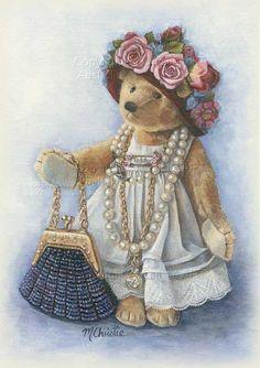 Pretty as a Picture By Maureen Tatty Teddy, Teddy Bear Hug, Teddy Bear Cartoon, Cute Teddy Bears, Photo Ours, Art D'ours, Etiquette Vintage, Teddy Bear Pictures, Bear Drawing