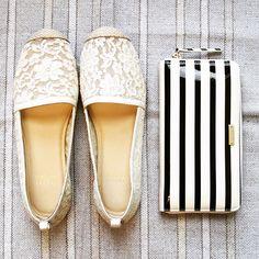 White Lace Flats + Striped Clutch - SO cute!!!