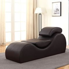 Rolling curves let you get comfortable in the US Pride Furniture Devon Upholstered Chaise Lounge Chair . Support pillows fit into the chaise to adjust. Cool Furniture, Bedroom Furniture, Furniture Design, Bedroom Decor, Furniture Ideas, Sofa Design, Colani, Lounge, Upholstery
