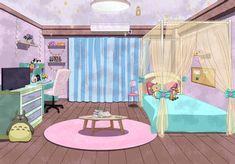 Dorm Layout, Dorm Room Layouts, Cute Pastel Wallpaper, Anime Scenery Wallpaper, Casa Anime, Ideas Habitaciones, Girl Dorms, Simple Anime, Anime Places