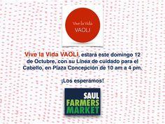 Estaremos en el Saúl Farmers Market de Plaza Concepción! Los esperamos a todos. Estaremos con nuestra línea para el cuidado del cabello.