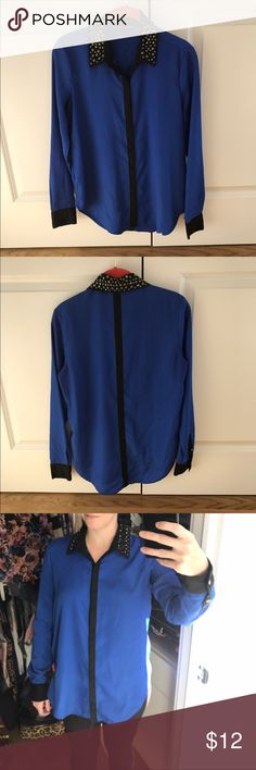 Rock and Republic bright blue blouse small Bought from Kohls. Worn once. Very hip blouse. With silver small studs on the collar. Black stripe down the back. Bright blue color. So cute. Rock & Republic Tops Blouses