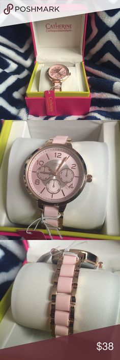 NWT Catherine Malandrino Women's Watch NWT Catherine Malandrino watch. Light pink/blush and gold band. Box corners are a little worn but watch is still in tact. Make an offer! Catherine Malandrino Accessories Watches