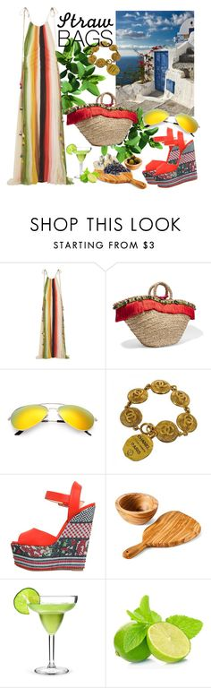 """""""Carry On: Straw Bags"""" by emilyde83 ❤ liked on Polyvore featuring Chloé, Dolce&Gabbana, Chanel, Giuseppe Zanotti and Core Home"""