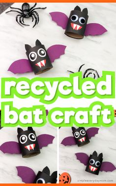 Make these easy toilet paper roll bats for Halloween! They're a simple DIY craft that's great for preschool, kindergarten and elementary aged children. They come with a free printable template so they're easy to recreate at home or at school. Halloween Crafts For Toddlers, Halloween Activities, Toddler Crafts, Crafts For Teens, Halloween Kids, Preschool Crafts, Preschool Kindergarten, Halloween Party, Toilet Paper Roll Bat