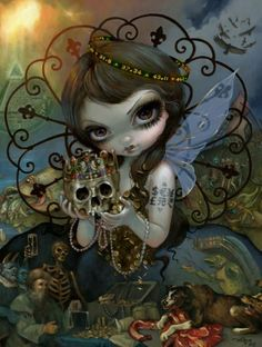 Jasmine Becket-Griffith art print dark fairy angel SIGNED Unseelie Court: Greed - Fairy Art - Ideas of Fairy Art - Jasmine Becket-Griffith art print dark fairy angel SIGNED Unseelie Court: Greed Price : Downtown Disney, Jasmine Becket Griffith, Amy Brown, Kobold, Ashton Drake, Fairy Pictures, Spooky Pictures, Gothic Fairy, Arte Horror