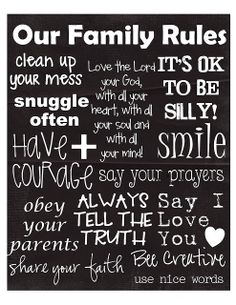 yOuR liTtLe BiRdiE: Family Rules Printable