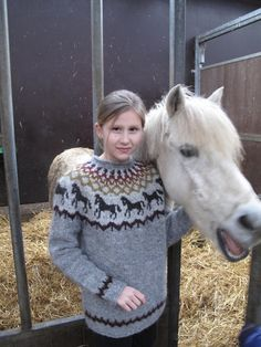 Ravelry: Project Gallery for Hestapeysa (Icelandic Sweater with Horses) pattern by Jóhanna Hjaltadóttir Knitted Mittens Pattern, Fair Isle Knitting Patterns, Jumper Patterns, Knit Mittens, Sweater Knitting Patterns, Knitting For Kids, Baby Knitting, Animal Sweater, Wraps