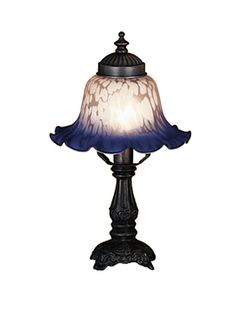 """12.5 Inch H Bell Pink & Blue Mini Lamp - 12.5 Inch H Bell Pink & Blue Mini LampA scalloped edge graces this lovely Petal Pink andIndigo Blue mottled glass bell shade paired with aMahogany Bronze finished mini lamp base. Theme: VICTORIAN Product Family: Bell White & Blue Product Type: NOVELTY LAMPS AND ACCESSORIES Product Application: LAMPS Color: PINK/BLUE Bulb Type: CNDL Bulb Quantity: 1 Bulb Wattage: 25WT Product Dimensions: 12.5""""H x 7WPackage Dimensions: NABoxed Weight: lbsDim Weight: 8…"""