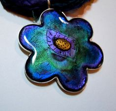 Polymer clay and Resin Pendant- detail by aMused Creations, via Flickr