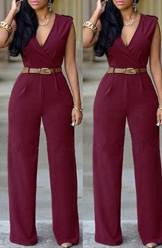 Women's V-Neck Sleeveless Pure Color Jumpsuit