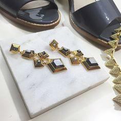 """Lele Sadoughi Geometric Chandelier Earrings Details: • Gold plated brass and gunmetal stones  • 2.75"""" long • Post back • New in jewelry pouch  05041502 Lele Sadoughi Jewelry Earrings"""