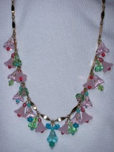 Necklace Czech Art Deco Bohemian Style w Flowers AB Crystals Cranberry Glass | eBay