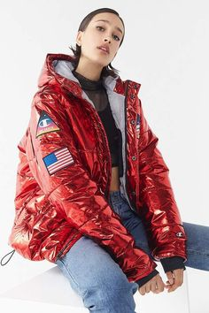 Shop Champion Metallic Zip-Front Puffer Coat at Urban Outfitters today. We carry all the latest styles, colors and brands for you to choose from right here. Red Space, Dress Me Up, Coats For Women, High Fashion, Urban Outfitters, Sportswear, Fitness Models, Champion, Autumn Fashion